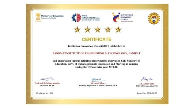 The recognition is testimony to PIET's continuing efforts to nurture innovation.(Digpu)
