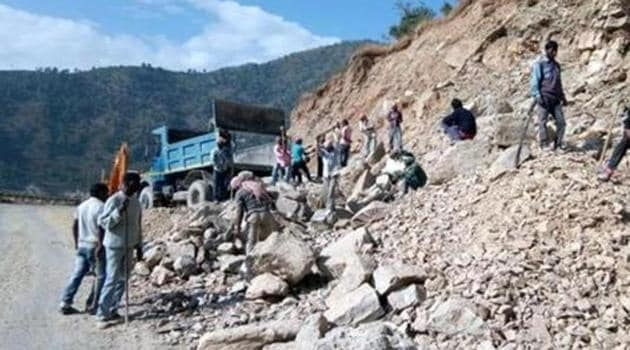 A stretch of the Char Dham road in Uttarakhand being widened.(HT PHOTO)
