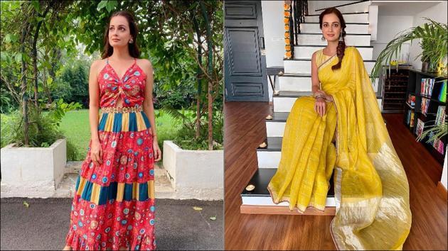 Dia Mirza sizzles up Diwali fashion in boho chic maxi-elegant zari saree(Instagram/diamirzaofficial)