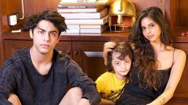 Birthday boy Aryan Khan poses with his siblings, Suhana and AbRam.