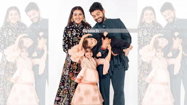 Cricketer Suresh Raina with wife Priyanka, daughter Gracia, 4, and their 8-month-old son, Rio. On Suresh: Pants and short kurta set, Antar-Agni. On Priyanka: Long skirt and top, Rahul Mishra; Heels, Steve Madden; Ring, Knick Knack Nook; Earrings, Zariin. On kids: Outfit, from a store in Khan Market, Delhi. Art direction: Amit Malik; Styling assistant: Tanya Aggarwal; Make-up and hair: Artistry by Anjali Jain(Shivamm Paathak)