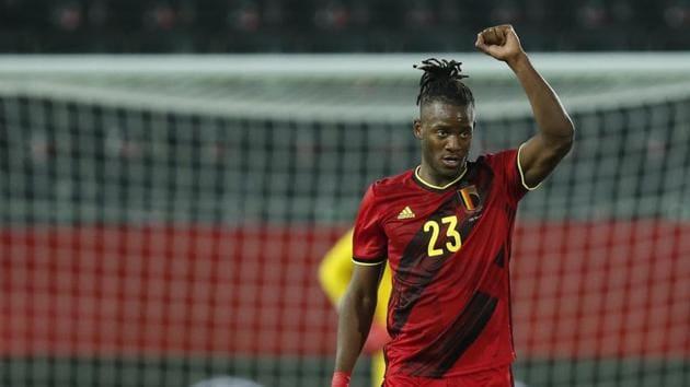 Belgium's Michy Batshuayi jubilates after scoring his sides second goal during an international friendly soccer match between Belgium and Switzerland at the King Power stadium in Leuven.(AP)