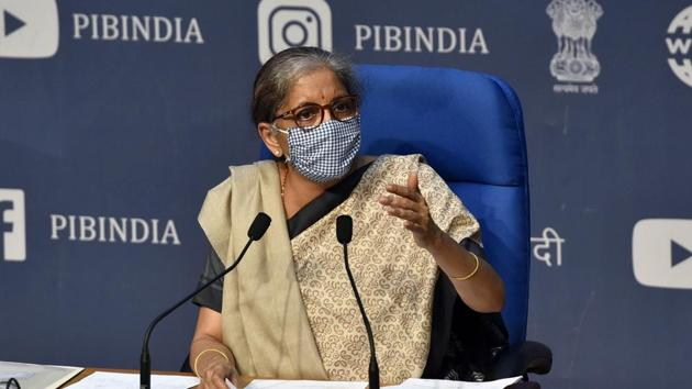 Union finance minister Nirmala Sitharaman addressing a press conference on Cabinet decisions at National Media Centre, in New Delhi on Wednesday.(Sanjeev Verma/HT PHOTO)