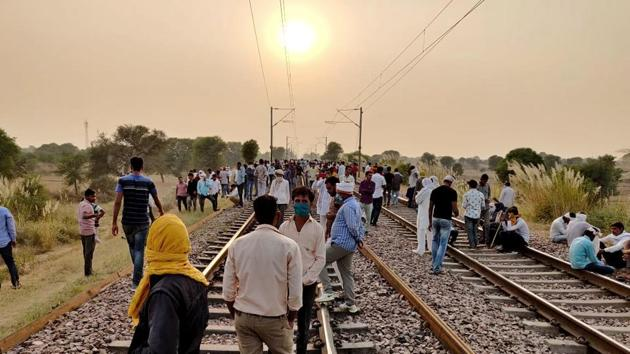 The protesters had been squatting on a rail track in Bharatpur's Bayana affecting traffic on the Delhi-Mumbai rail route(HT Photo)