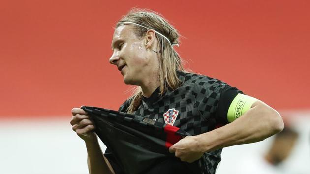 Croatia's Domagoj Vida reacts after conceding a penalty.(REUTERS)