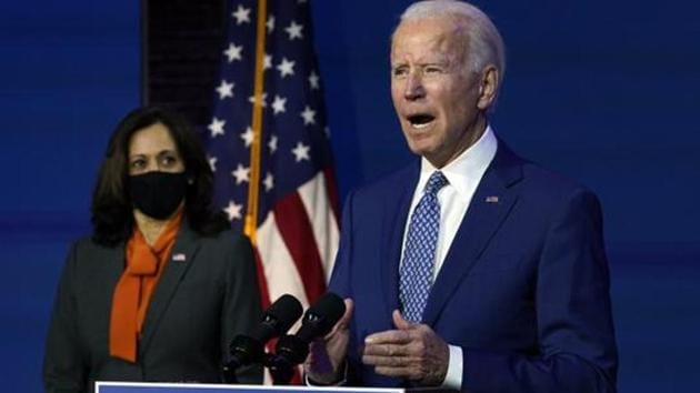 President-elect Joe Biden speaking on Monday at The Queen theater in Wilmington.(AP File Photo)