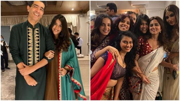 Manish Malhotra, Sanaya Irani, Mouni Roy and many other celebs joined the Diwali party at Ekta Kapoor's home on Thursday. (Varinder Chawla)