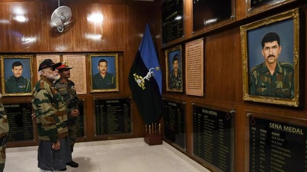 """In 2019, Modi visited the """"Hall of Fame"""" in Rajouri and also the Pathankot Airbase. (Twitter/@narendramodi)"""