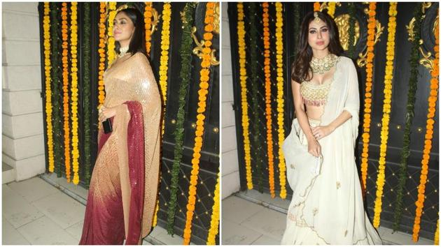 Mrunal Thakur and Mouni Roy decked up in their finest outfits.
