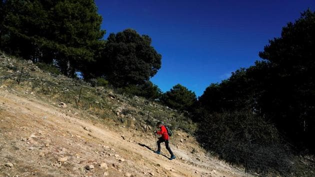 Carlos Soria, 81-year-old Spanish mountain climber trains to climb in the Himalaya mountains next spring as a tribute to the elderly affected by the coronavirus disease (COVID-19) amidst its outbreak, in Moralzarzal, Spain.(REUTERS)