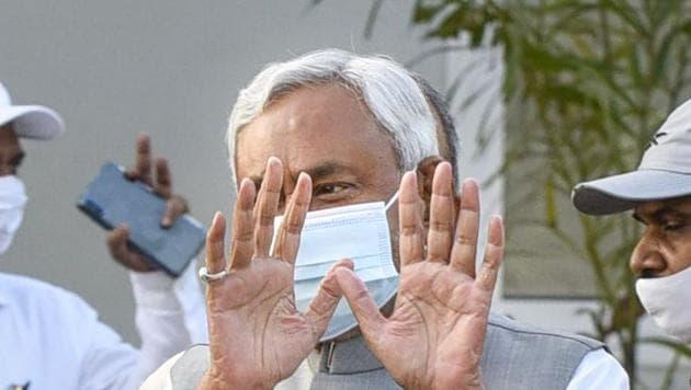 Janata Dal (United) President and Bihar Chief Minister Nitish Kumarin Patna party office on Thursday.(PTI)