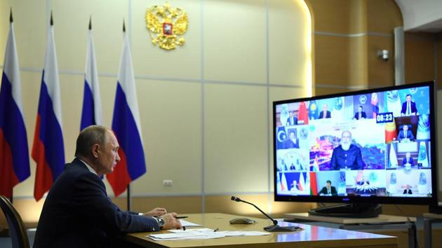 Russian President Vladimir Putin attends a summit of leaders of the Shanghai Cooperation Organisation (SCO) via a video conference call in Sochi, Russia.(via REUTERS)