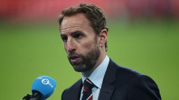 Manager Gareth Southgate talks to the media after the match.(REUTERS)