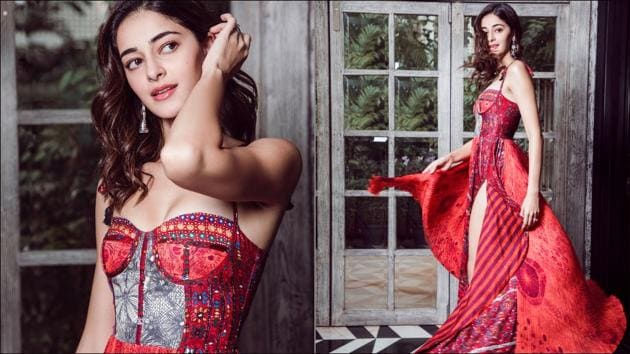 Ananya Panday's Diwali look in a red spaghetti strap dress