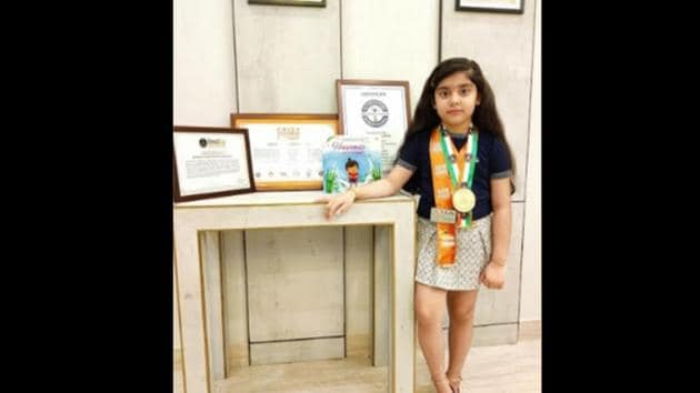The image shows 7-year-old Abhijita Gupta who has been recognized as the world's youngest author by the International Book of Records.(ANI)