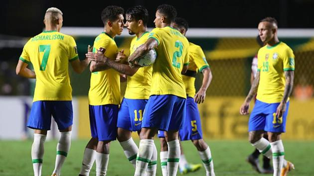 Lucas Paqueta, Roberto Firmimo, Danilo and Richarlison celebrate after their victory over Venezuela(Getty Images)