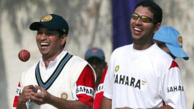 Yuvraj Singh and Sachin Tendulkar in 2005(Getty Images)