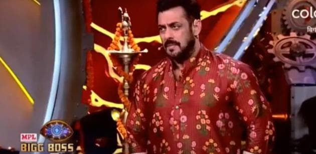 Bigg Boss 14; Salman Khan in traditional attire for Diwali special episode.