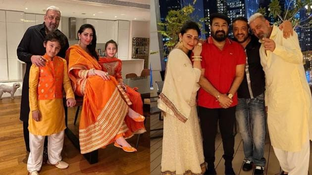 Sanjay Dutt with family and Mohanlal during Diwali celebrations.