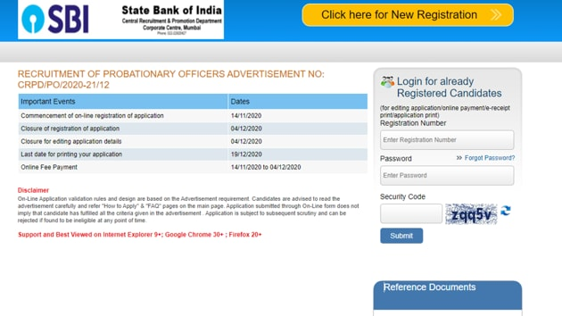 SBI PO Recruitment 2020.(Screengrab)
