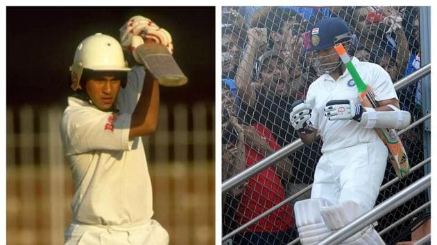 Sachin Tendulkar in his debut match (L) and last match (R)(BCCI/Twitter)