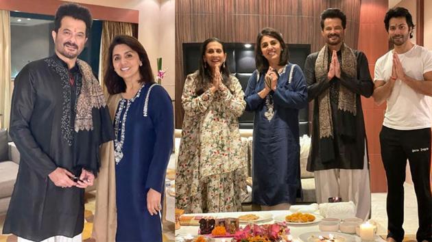 Neetu Kapoor with Anil Kapoor, his wife Sunita and Varun Dhawan on Diwali.