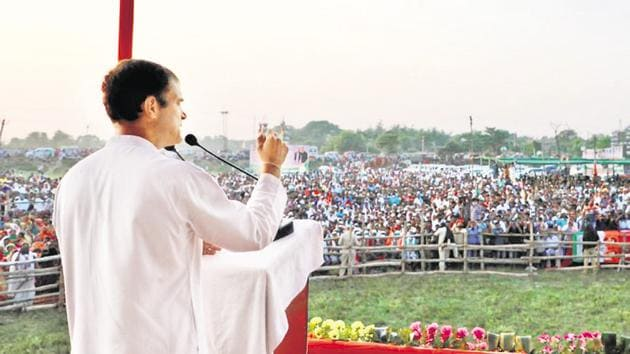 Congress leader Rahul Gandhi at an election rally in Bihar's Darbhanga last month.(PTI)