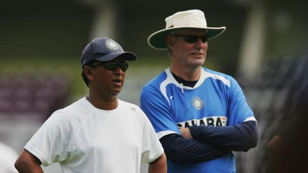 Kiran More head of the Indian selectors with coach Greg Chappell during net practice at the T.Jawaharlal Nehru Stadium.(Getty Images)