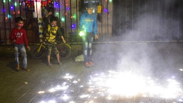 They has been a decrease in fireworks this year, but there was a rise in noise pollution during the festival.(HT Photo)