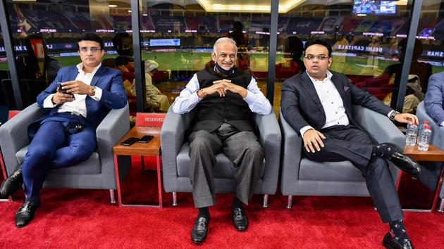 BCCI President Saurav Ganguly, BCCI Secretary Jay Shah and IPL Chairman Brijesh Patel during the final cricket match of the Indian Premier League (IPL) T20 between Delhi Capitals and Mumbai Indians.(PTI)