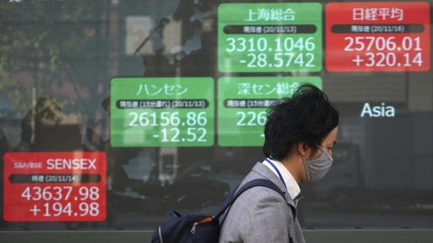 A man wearing a mask against the spread of the coronavirus walks past an electronic stock board showing Japan's Nikkei 225 and other Asian index at a securities firm in Tokyo.(AP)