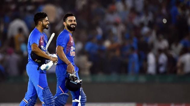 Indian captain Virat Kohli and Shreyas Iyer after winning the 2nd T20 match against South Africa in Mohali.(PTI)