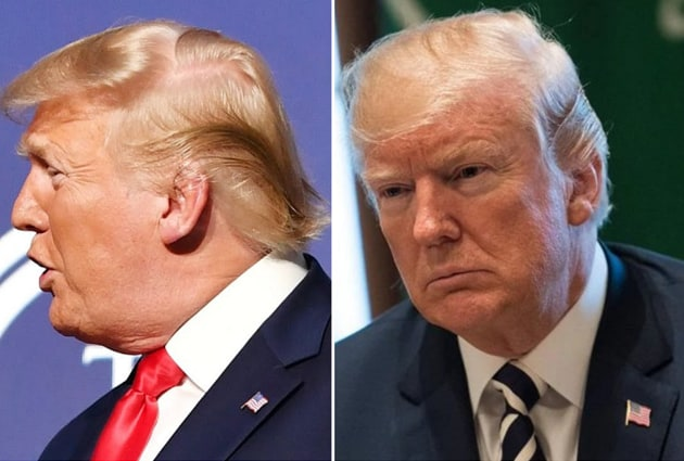 Donald Trump (left) before and at his most recent public appearance (right).(Youtube/ Twitter)
