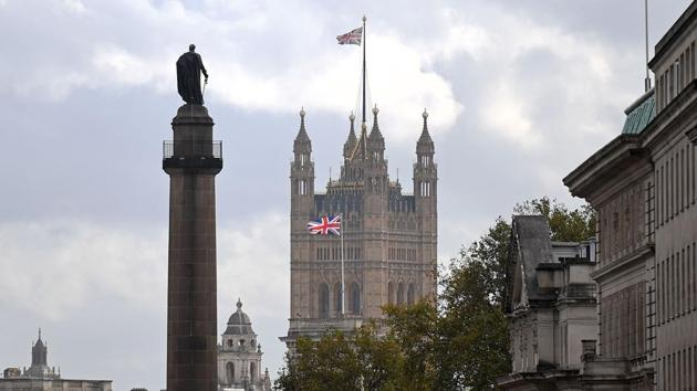 A Union flag flies atop the Victoria Tower at Britain's Houses of Parliament, incorporating the House of Lords and the House of Commons, in London on October 20.(AFP/ File)