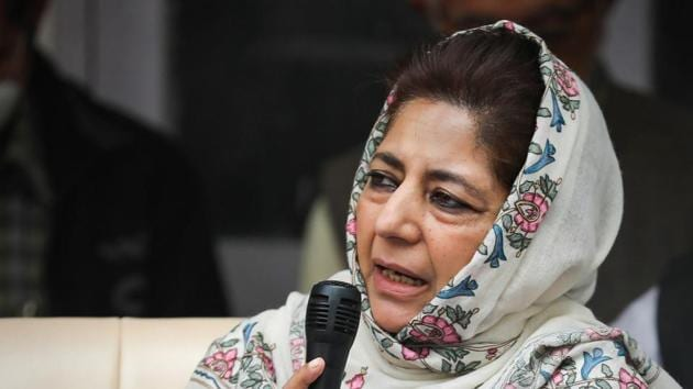 Peoples Democratic Party (PDP) President Mehbooba Mufti at party HQ in Jammu.(PTI)