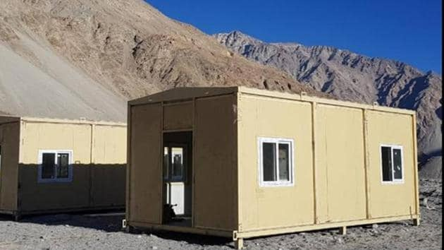 Porta cabins for troops deployed in Ladakh.(Photo: Sourced by HT)
