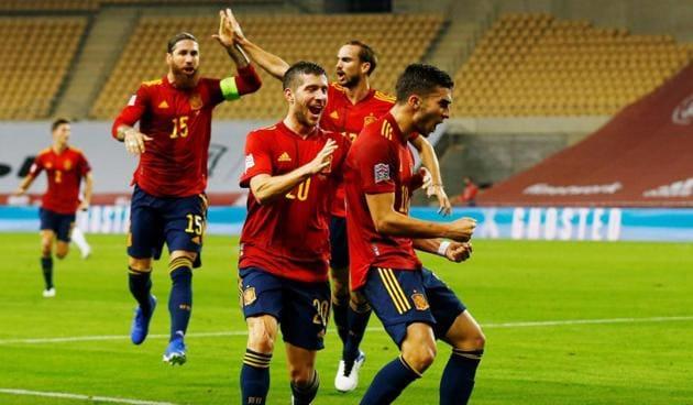 Spain's Ferran Torres celebrates scoring their second goal(Reuters)