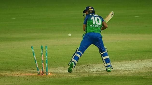 Shahid Afridi was out for a golden duck in the Eliminator.(Getty Images)