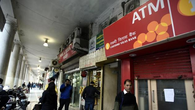 Lakshmi Vilas Bank has a vast network of more than 550 branches and 900-plus ATMs across India.(Sonu Mehta/HT Photo)