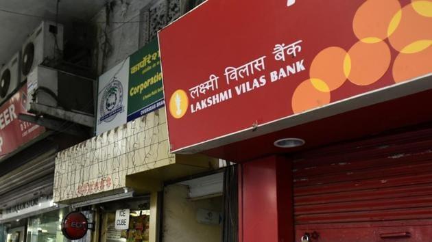 A closed Lakshmi Vilas Bank ATM.(HT Archive)