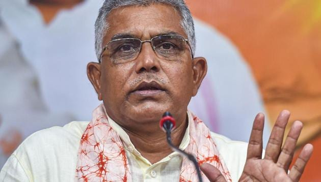 The upcoming election in West Bengal will be a direct fight between the BJP and the TMC, Dilip Ghosh said, dubbing both the Left parties and the Congress as spent forces(PTI)