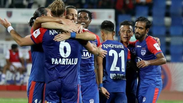 Bengaluru FC team team celebrates after the goal during match 64 of the Indian Super League ( ISL ) between Bengaluru FC and Odisha FC held at the Sree Kanteerava Stadium, Bengaluru, India on the 22nd January 2020.(SPORTZPICS for ISL)