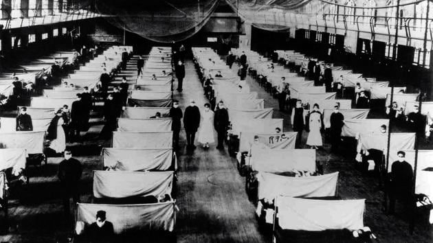 A warehouse converted to keep infected people quarantined during the Influenza pandemic in 1918.(Universal Images Group via Getty)