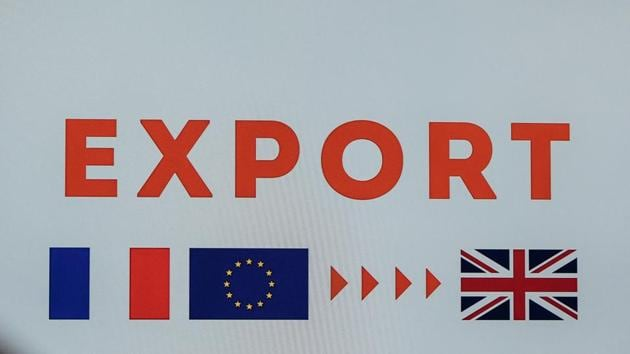 An 'Export' sign featuring French and UK national flags and the stars of the European Union (EU) as the Port of Le Havre presents its Brexit preparations in Le Havre, France, on Friday, Nov. 20, 2020.(Bloomberg)