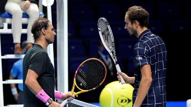 Russia's Daniil Medvedev with Spain's Rafael Nadal after winning their semi-final match.(REUTERS)