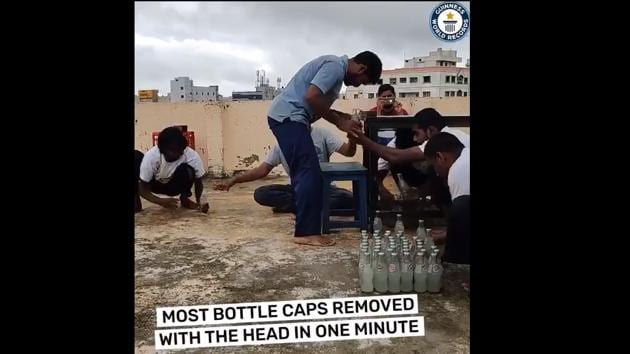 Indian Martial Arts expert Prabhakar Reddy set a Guinness world record by removing 68 bottle caps.(Twitter/@GWR)