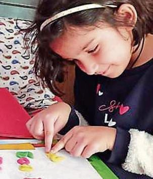 A student learning mathematical concepts with the help of play dough.(HT)