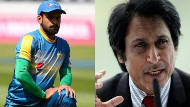 Pakistan all-rounder Mohammad Hafeez (L), former Pakistan captain Ramiz Raja (R)(Twitter)