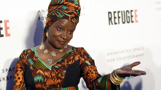 """The image shows singer and UNICEF Goodwill Ambassador Angelique Kidjo at the opening of the new photography exhibit """"REFUGEE"""" at The Annenberg Space for Photography in Los Angeles.(Chris Pizzello/Invision/AP)"""