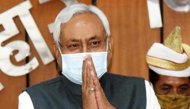Bihar Chief Minister Nitish Kumar at the oath ceremony of newly elected Members of Legislative Council in Patna, on Sunday.(Santosh Kumar/HT PHOTO)